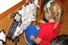 Shaving Cream Sheep Shearing for a Preschool Farm theme - An awesome sensory activity