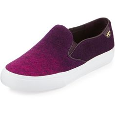 Tory Burch Rudi Ombre Slip-On Sneaker ($225) ❤ liked on Polyvore featuring shoes, sneakers, purple, tory burch footwear, round toe shoes, slipon shoes, slip on sneakers and purple shoes
