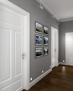 perfect corridor, grey walls, white doors, dark wooden floor - Futura Home Decorating Grey Interior Paint, Gray Paint, Greige Paint, Grey Interior Design, Home Interior Colors, White Interior Doors, Interior Color Schemes, Interior Walls, Grey Flooring