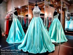 Look and feel like a princess in this gorgeous two piece ball gown! The full soft satin skirt features side pockets and the spectacular halter crop top is covered with crystals. Just fabulous and it's at Rsvp Prom and Pageant, your source for the HOTTEST Prom and Pageant Dresses!