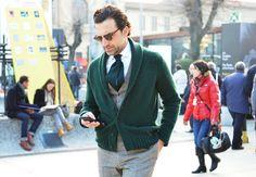 the green cardigan