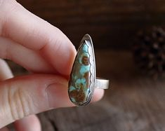 Distressed Turquoise Teardrop | Ring, Compass Turquoise Rings, sterling silver rings, handmade ring, statement ring, unique jewelry, size 5