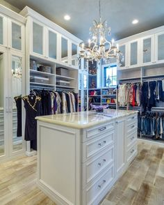 This Extra Tall Custom Closet Organizer By Maximizes The Height Of Walk In And Style Room Features A Two Sided Island Open Closed