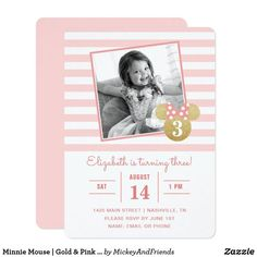 Pink and Gold Minnie Mouse Birthday Invitation. Pink and Gold Minnie Mouse Party Ideas. Pink and Gold Minnie Mouse theme ideas. Minnie Mouse Birthday Invitations, Minnie Mouse First Birthday, Kids Birthday Party Invitations, Disney Birthday, Minnie Mouse Party, Mouse Parties, Mickey Mouse, Gold Birthday Party, Birthday Party Themes