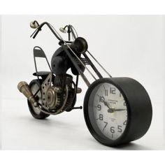 Motorcycle Clock, Bicycle Clock, Clock Art, Clocks, Alarm Clock, Metal Art, Black Metal, Creative Design, Art Pieces