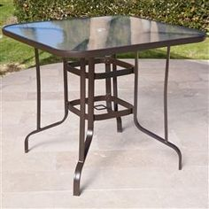 42 inch round black metal outdoor patio dining table with umbrella