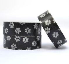 Paw Prints Washi Tape, Black and White, Animal Lovers Paper Craft Tape, Japanese Rice Paper Tape, Chugoku, Paper Crafting, Puppy Craft Tape on Etsy, $2.50