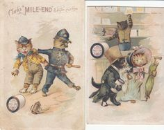 Victorian Trade Card Clark s Mile End Spool Cotton Cats Dressed Up 2 C 1880s