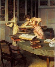 """Elegant women in a library"" by Edouard Gelhay."