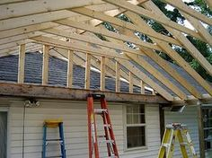 How to Build a Gable Porch Roof | ... roof porch roofs porch roof framing pitched back porch how to build Patio Roof, Backyard Patio, Pergola Roof, Building A Porch, Building A House, Patio Design, House Design, Porch Roof Design, Design Web
