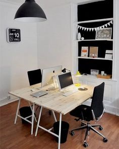 Best Two Person Desk Design Ideas for Your Home Office Workspace – – – home office ideas for two Mesa Home Office, Home Office Space, Office Workspace, Home Office Desks, Office Decor, Office Ideas, Office Spaces, Workspace Design, Desk Space