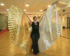 New Egyptian Belly Dance Gold And Silver Lame Isis Wings Made In Egypt SALE+gift