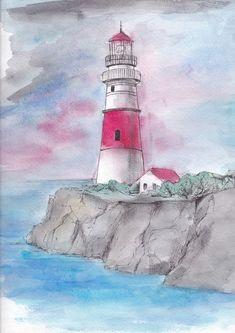 маяк рисунок эскиз - lighthouse
