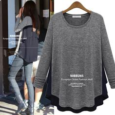 Spring&Autumn excellent quality, plus size knitted+chiffon long sleeve ladies knitwear, womens t shirt tops $18.89