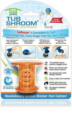 TubShroom® (Orange) The Hair Catcher That Prevents Clogged Tub Drains
