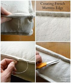 Sewing Projects DIY Tufted French Mattress Cushion-Creating French Mattress Edge - An Oregon Cottage - Step-by-step tutorial to make your own Ballard-style tufted French mattress cushion in just a few hours using basic material and sewing skills. Sewing Hacks, Sewing Crafts, Sewing Projects, Diy Projects, Drop Cloth Projects, Sewing Tips, Techniques Couture, Sewing Techniques, Diy Couture