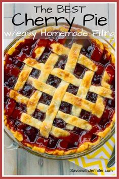 Flaky Pie Crust filled with Homemade Cherry Pie Filling is bursting with cherry flavor that's just sweet enough to satisfy with a smidge of tart. It's so easy and delicious, you will never buy store bought again! Best Cherry Pie Recipe, Homemade Cherry Pies, Cherry Recipes, Baking Recipes, Dessert Recipes, Oven Recipes, Candy Recipes, Cherry Tart, Cherry Pie Frozen Cherries
