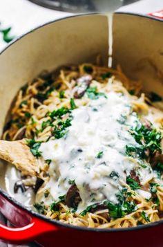 Cremige Pilz-Spaghetti