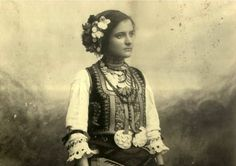 Girl in traditional Serbian folklore costume...