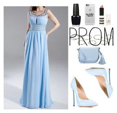 """""""Sky Blue A Line Princess Scoop Neck Floor Length Chiffon Prom Dress Ruffle Beading Harry Dress HD15825"""" by harrydress ❤ liked on Polyvore featuring Casadei, Kate Spade, OPI, Casetify, Topshop and Akira"""