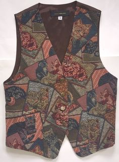 Crazy Cat Lady Tapestry Vintage Vest Size Small Kittens Brown Green Button Front | eBay