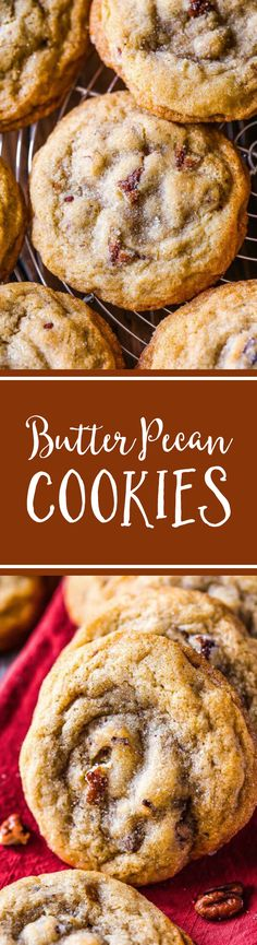Buttery, soft 'n chewy cookies exploding with toasted pecans and brown sugar flavor! Recipe on sallysbakingaddic. View the full recipe in the original . Mini Desserts, Cookie Desserts, Cookie Recipes, Delicious Desserts, Dessert Recipes, Baking Cookies, Pecan Recipes, Baking Recipes, Yummy Recipes