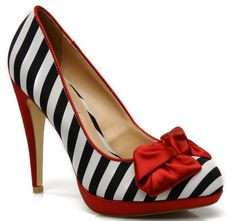 photos of shoes with bows   Dune 'Bellma' stripe court shoes with red bow >> Shoeperwoman