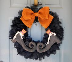 Burlap Halloween Wreath SET OF 2 (Size X-Large)  with Primitive Witch Boots PAIR - (customize the stocking colors)Swamp Water Line on Etsy, $135.00