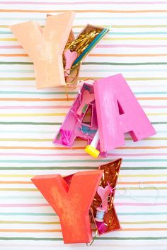 made-from-scratch letter shaped boxes for all your party favor and gifting needs! Diy Letter Boxes, Diy Letters, Easy Crafts, House Warming, Diy Projects, Gifts, 5 Things, House Plants, Presents