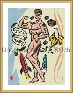 Rock hard male nude cross stitch pattern - Licensed Mitch O'Connell retro art