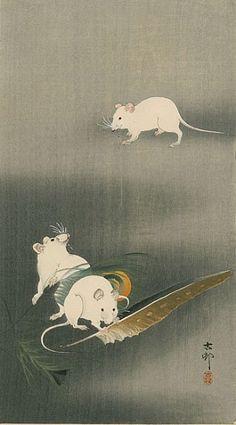 "Ohara Koson ""Three White Mice"" 1900 Japan Maybe could do Three Blind Mice Japanese Illustration, Illustration Art, Ohara Koson, Art Chinois, Art Asiatique, Art Japonais, Japanese Painting, Japanese Prints, Japan Art"