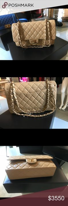"Auth CHANEL Classic M/L Tan Lambskin Double Flap Stunning 100% Authentic CHANEL Classic Medium Nude/Tan Lambskin Leather Double Flap 2.55 with gold hardware. Made in France. In beautiful preowned condition with the serial number intact. This is considered the medium/large size by CHANEL's standard. The approximate length is 10"", height is 6.3"" and the depth is 2.6"" with a 16.5"" shoulder drop. Photos were taken with and without flash. Comes with the dust bag and certificate of authenticity…"