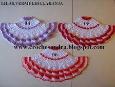 Artes Ana Vilela : Grafico vestido de croche para bonecas Filet Crochet, Crochet Doilies, Crochet Baby, Knit Crochet, Crochet Letters, Crochet Embellishments, Crochet Skirts, Crochet Accessories, Embroidery Stitches