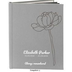 Funeral service guestbook comes with a personalises cloth cover. The blank pages perfect for handwritten notes or stories, photos and cards. Elizabeth Parker, Funeral, First Love, Notes, Memories, Templates, How To Make, Cards, Products
