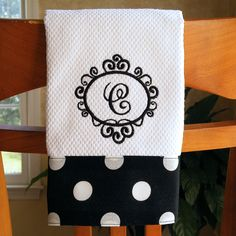 Monogrammed Kitchen Towel, Personalized Dish Towel, Black with Large White Dots Monogrammed Kitchen Towel Personalized Dish Towel Embroidery Monogram, Machine Embroidery Applique, Embroidery Patterns, Sewing Patterns, Sewing Hacks, Sewing Crafts, Sewing Projects, Monogram Towels, Personalized Towels