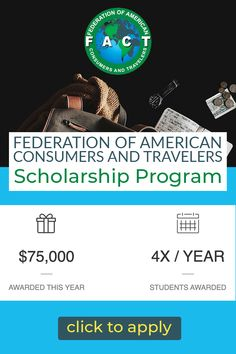 $75,000 will be awarded by FACT this year on a quarterly basis with no deadlines. Saving For College, Scholarships For College, College Hacks, College Students, Usa Facts, Types Of Education, One Million Dollars, Top Colleges, Student Awards