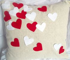 Confetti Heart Pillow Cover, Valentines Pillow, Applique heart pillow, valentines decor, valentines day home decoration, valentines pillow by LovebugHandmade on Etsy https://www.etsy.com/listing/120540612/confetti-heart-pillow-cover-valentines