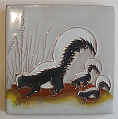 Gila Pottery Skunk Family Tile (Gila ~ McKusick ~ DHC ~ Tiles & Pottery) at Antique Tiles Globe Arizona, Antique Tiles, Bathroom Bath, Bath Decor, Making Out, 6 Inches, Mosaic, Moose Art, Objects
