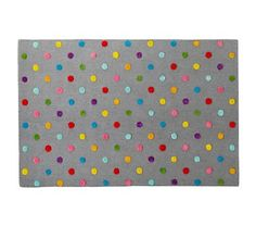 Kids' Rugs: Kids' Multi Color Dot Candy Grey Rug