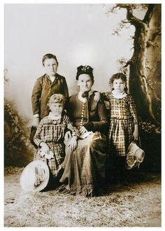 "Founder of the McKinney-Warren Place in Mineral Wells, Texas, Letha Caroline Cary McKinney sits with her three oldest great grandchildren. McKinney came to Texas from Alabama in 1853 and acquired the property for the ranch in 1859. Lou Warren described the rare land-owning woman as ""very stern"" and someone who ""didn't put up with nonsense on the frontier of Texas."""