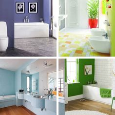 Looking for bathroom color ideas?  Here are some combinations that we like.  Complimentary colors also work well.   Colors opposite on the color wheel (the complimentary colors) usually work best but as you can see from this picture, one color is often favored in the bathroom.