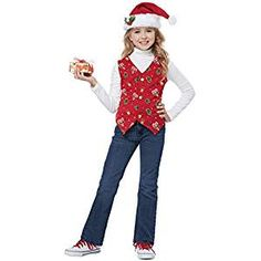 A fun way to dress for the holidays. The children Holiday Vest in red features, white snowtex trim along with colourful gifts print. This costume comes with a Santa hat and a holly clip. Oktoberfest Fancy Dress, Costume Dress, Red Costume, Costume Box, California Costumes, Santa Suits, Red Media, Holiday Outfits, Holiday Clothes