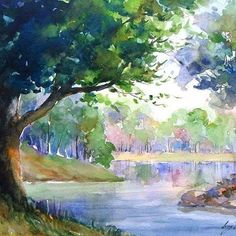 Resultado de imagem para paisagem aquarela
