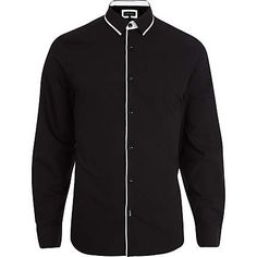 Black contrast piped long sleeve shirt - long sleeve shirts - shirts - men