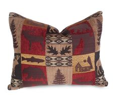 Cabin Pillows, Wildlife Pillow Covers, Moose, Bears, Deer Pillows, Cottage Country Pillow, Rustic Lake House Decor, 14x18, 18x18