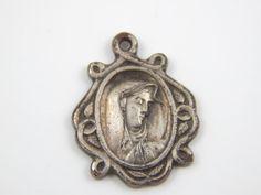 Vintage Mater Dolorosa Catholic Medal  | Crying Religious Charm