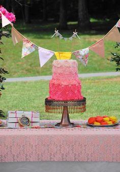 Rosette ombré cake...vintage tea party birthday!
