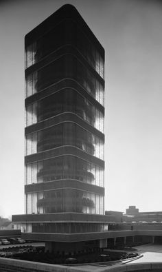 Frank Lloyd Wright anything.Johnson Wax Tower, Frank Lloyd Wright, Racine, WI, 1950 - always one of my favorites! Frank Lloyd Wright, Amazing Architecture, Art And Architecture, Luigi Snozzi, Johnson Wax, Frank Johnson, Eero Saarinen, Built Environment, Brutalist