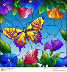 Illustration in stained glass style with bright butterfly against the sky, folia… – Glass Art Designs Glass Wall Art, Stained Glass Mosaic, Flower Painting, Glass Window Art, Glass Painting, Painting, Painting Patterns, Glass Art Projects