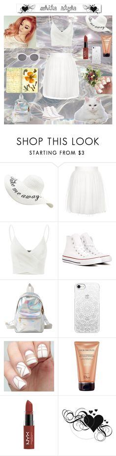 """All white outfit contest"" by lizenn-annah-binet ❤ liked on Polyvore featuring Rare London, Doublju, Converse, Charlotte Russe, Casetify, Christian Dior, White Label and Moleskine"